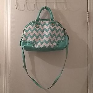 Handbags - Mint and white handbag with strap